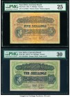 East Africa East African Currency Board 5; 10 Shillings 1.8.1942; 1.1.1952 Pick 28A; 29b Two examples PMG Very Fine 25; Very Fine 30. Pick 28A; small ...