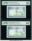 French Indochina Institut d'Emission des Etats, Laos 1 Piastre = 1 Kip; 1 Piastre = 1 Dong ND (1954) Pick 100; 105 Two Examples PMG Gem Uncirculated 6...