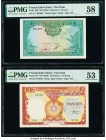 French Indochina Institut d'Emission des Etats, Vietnam 5 Piastres = 5 Dong; 10 Piastres = 10 Dong ND (1953) Pick 106; 107 Two Examples PMG Choice Abo...
