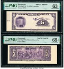 Guatemala Banco de Guatemala 5 Quetzales ND (1948-54) Pick 25p1; 25p2 Front and Back Proofs PMG Choice Uncirculated 63; Gem Uncirculated 65 EPQ.   HID...