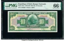 Haiti Banque Nationale de la Republique d'Haiti 10 Gourdes 1919 (ND 1951-64) Pick 181a PMG Gem Uncirculated 66 EPQ.   HID09801242017  © 2020 Heritage ...