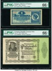 Hungary State Note of the Ministry of Finance 1 Korona 1920 Pick 57 PMG Gem Uncirculated 66 EPQ; Germany Imperial Bank Note 50,000 Mark 19.11.1922 Pic...