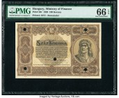 Hungary State Note of the Ministry of Finance 100 Korona 1920 Pick 63r Remainder PMG Gem Uncirculated 66 EPQ. Punch hole cancelled with five holes.   ...