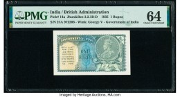 India Government of India 1 Rupee 1935 Pick 14a Jhun3.2.1B-D PMG Choice Uncirculated 64. Staple holes at issue.  HID09801242017  © 2020 Heritage Aucti...