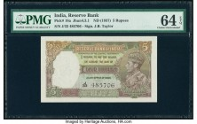 India Reserve Bank of India 5 Rupees ND (1937) Pick 18a Jhun4.3.1 PMG Choice Uncirculated 64 EPQ. Staple holes at issue.  HID09801242017  © 2020 Herit...