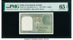 India Reserve Bank of India 1 Rupee ND (1949) Pick 71a Jhun6.1.1.1 PMG Gem Uncirculated 65 EPQ.   HID09801242017  © 2020 Heritage Auctions | All Right...