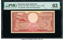 Indonesia Bank Indonesia 50 Rupiah ND (1957) Pick 50 PMG Choice Uncirculated 63.   HID09801242017  © 2020 Heritage Auctions | All Rights Reserve