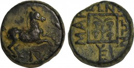 THRACE. Maroneia. Ae (Circa 398/97 - 348/47 BC). Obv: Prancing horse right; monogram below horse. Rev: MAPONITΩΝ. Four bunches of grapes in linear squ...