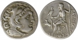 KINGS OF THRACE. Lysimachos (305-281 BC). Drachm. Kolophon. Obv: Head of Herakles right, wearing lion skin. Rev: BAΣIΛEΩΣ ΛYΣIMAXOY. Zeus seated left,...