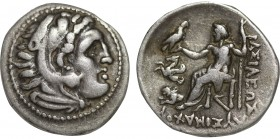 KINGS OF THRACE. Lysimachos (305-281 BC). Drachm. Lampsakos. Obv: Head of Herakles right, wearing lion skin. Rev: BAΣIΛEΩΣ ΛYΣIMAXOY. Zeus seated left...