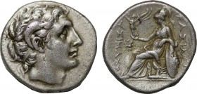 KINGS OF THRACE. Lysimachos (305-281 BC). Drachm. Ephesos. Obv: Head of the deified Alexander with horn of Ammon right. Rev: Athena Nikephoros seated ...
