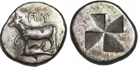 THRACE. Byzantion. Siglos (Circa 340-320 BC). Obv: 'ΠΥ. Bull standing left on dolphin left. Rev: Stippled quadripartite incuse square. SNG BM Black Se...