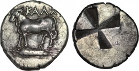 BITHYNIA. Kalchedon. Siglos (Circa 340-320 BC). Obv: Bull standing left on grain ear. Rev: Incuse punch of mill-sail pattern. SNG BM Black Sea 112; HG...
