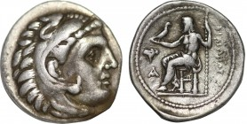 KINGS OF MACEDON. Philip III Arrhidaios (323-317 BC). Drachm. Sardes. Obv: Head of Herakles right, wearing lion skin. Rev: ΦIΛIΠΠOY. Zeus seated left ...