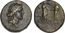 PONTOS. Amisos. Ae.(Circa 30-15 BC). Obv: Diademed head of Apollo right. Rev:AMIΣOY Amisos standing at left holding diadem(?) in left hand, facing Rom...
