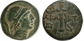 PONTOS. Chabacta. Ae (Circa 100-85 BC). Obv: Head of Perseus right, wearing Phrygian cap with griffin-crest. Rev: XABAKTΩΝ. Pegasos drinking left; to ...