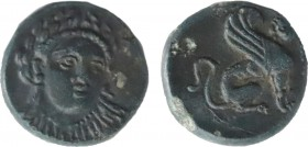 TROAS. Gergis. Ae (4th century BC). Obv: Laureate head of Sibyl Herophile facing slightly right. Rev: ΓΕΡ. Sphinx seated right. SNG Ashmolean 1147; SN...