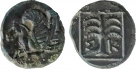 TROAS. Skepsis. Ae (4th century BC). Obv: Rhyton with forepart of Pegasos left. Rev: Σ - Κ. Fir tree within linear square border. SNG Copenhagen 475. ...