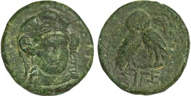 Troas, Sigeion Ae. Circa (355-334 BC). Obv : Head of Athena facing slightly right, wearing triple crested helmet and necklace. Rev: ΣIΓE, double-bodie...