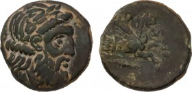 MYSIA. Adramytion. Ae (4th century BC). Obv: Laureate head of Zeus right. Rev: AΔPA. Forepart of Pegasos right; below, grain ear right. SNG BN 1 var. ...