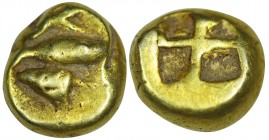 MYSIA, Kyzikos. EL Hekte-Sixth Stater. (Circa 600-550 BC). Obv: Tunny left; above, tunny head right; below, tunny tail left. Rev: Quadripartite incuse...