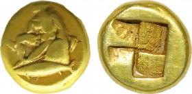 MYSIA. KYZIKOS. El Hekte. ( Circa 500/450 BC). Obv: Nymph with wreath and shield sits on dolphin left, below it tuna left. Rev : four-part incusum. SN...