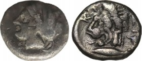 MYSIA. Kyzikos. Drachm (Circa 390-341/0 BC). Obv: ΣΩTEIPA. Head of Kore Soteira left, with hair in sphendone. Rev: KYZI. Head of lion left; tunny in f...