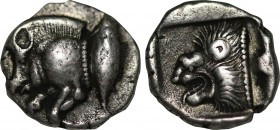 MYSIA. Kyzikos. Obol (Circa 450-400 BC). Obv: Forepart of boar left; to right, tunny upward. Rev: Head of roaring lion left within incuse square. SNG ...