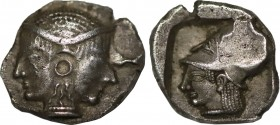 MYSIA. Lampsakos. Diobol (Circa 500-450 BC). Obv: Janiform female head. Rev: Helmeted head of Athena left within incuse square. SNG BN 1126. Condition...