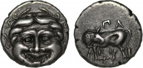 Mysia. Parion. Hemidrachm (Circa 400-300 BC). Obv: ΠΑ-ΡΙ, bull standing left, head turned back to right, below, star. Rev: Gorgoneion facing, surround...