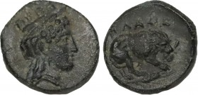 MYSIA. Plakia. Ae (4th century BC). Obv: Turreted head of Kybele right. Rev: ΠΛΑΚΙΑ. Lion, devouring prey, standing right on grain ear right. SNG BN 2...