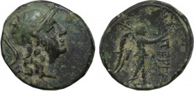 MYSIA. Pergamon. Ae (Mid-late 2nd century BC). Obv: Helmeted head of Athena right, star on helmet; magistrate's name below. Rev: ΠΕΡΓΑΜΗΝΩΝ. Nike adva...