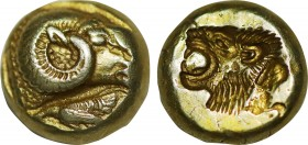Lesbos, Mytilene. EL Hekte (Circa 521-478 BC). Obv: Head of ram right; below, cock standing left. Rev: Incuse head of lion left; rectangular punch beh...