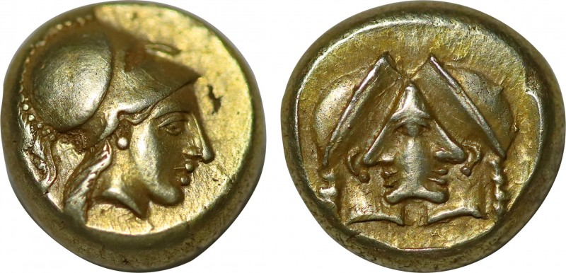 Lesbos, Mytilene EL Hekte. (Circa 454-427 BC). Obv: Head of Athena wearing crest...