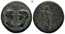 Ionia. Smyrna. Nero, with Agrippina Junior AD 54-68. Bronze Æ