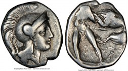 CALABRIA. Tarentum. Ca. 380-280 BC. AR diobol (12mm, 7h). NGC VF. Ca. 325-280 BC. Head of Athena right, wearing crested Attic helmet decorated with fi...
