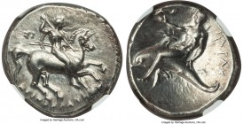 CALABRIA. Tarentum. Ca. 302-281 BC. AR stater or didrachm (22mm, 7.87 gm, 3h). NGC AU 5/5 - 2/5, smoothing. Deinocrates, magistrate. Warrior on horseb...