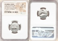 CALABRIA. Tarentum. Ca. early 3rd century BC. AR didrachm (20mm, 7.79 gm, 5h). NGC AU 4/5 - 3/5. Lycon and Si-, magistrates. Warrior on horseback righ...
