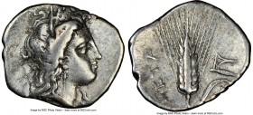 LUCANIA. Metapontum. Ca. 325-275 BC. AR diobol (13mm, 7h). NGC VF. Head of Demeter right, crowned with grain / META, barley ear with leaf to right; pl...
