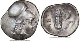 LUCANIA. Metapontum. Ca. 325-275 BC. AR diobol (13mm, 3h). NGC VF. Head of Athena right, wearing Corinthian helmet pushed back on head / META, barley ...