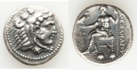 MACEDONIAN KINGDOM. Alexander III the Great (336-323 BC). AR tetradrachm (25mm, 17.00 gm, 7h). About XF, gouge. Early posthumous issue of Tyre, dated ...