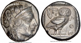 ATTICA. Athens. Ca. 455-440 BC. AR tetradrachm (24mm, 17.13 gm, 2h). NGC AU 5/5 - 3/5. Early transitional issue. Head of Athena right, wearing crested...