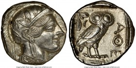 ATTICA. Athens. Ca. 440-404 BC. AR tetradrachm (25mm, 17.21 gm, 7h). NGC MS 5/5 - 4/5, light scuff. Mid-mass coinage issue. Head of Athena right, wear...