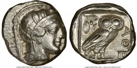 ATTICA. Athens. Ca. 440-404 BC. AR tetradrachm (24mm, 17.24 gm, 10h). NGC Choice AU 4/5 - 4/5. Mid-mass coinage issue. Head of Athena right, wearing c...