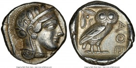 ATTICA. Athens. Ca. 440-404 BC. AR tetradrachm (24mm, 17.18 gm, 11h). NGC AU 5/5 - 5/5. Mid-mass coinage issue. Head of Athena right, wearing crested ...