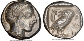 ATTICA. Athens. Ca. 440-404 BC. AR tetradrachm (24mm, 17.15 gm, 11h). NGC AU 5/5 - 4/5. Mid-mass coinage issue. Head of Athena right, wearing crested ...