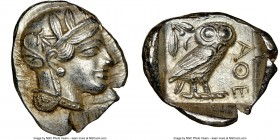 ATTICA. Athens. Ca. 440-404 BC. AR tetradrachm (29mm, 17.21 gm, 3h). NGC AU 5/5 - 4/5. Mid-mass coinage issue. Head of Athena right, wearing crested A...