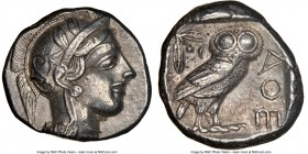 ATTICA. Athens. Ca. 440-404 BC. AR tetradrachm (24mm, 17.16 gm, 4h). NGC Choice XF 5/5 - 4/5. Mid-mass coinage issue. Head of Athena right, wearing cr...