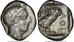 ATTICA. Athens. Ca. 440-404 BC. AR tetradrachm (25mm, 17.17 gm, 7h). NGC Choice XF 5/5 - 3/5, brushed. Mid-mass coinage issue. Head of Athena right, w...