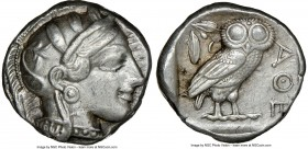 ATTICA. Athens. Ca. 440-404 BC. AR tetradrachm (23mm, 17.18 gm, 3h). NGC XF 5/5 - 3/5. Mid-mass coinage issue. Head of Athena right, wearing crested A...